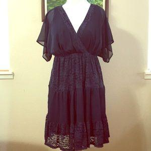 Navy blue sheer/lace flutter sleeve dress